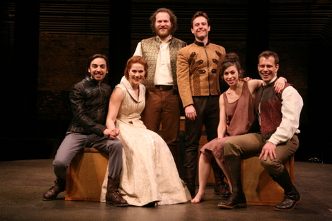 "Fiasco Theater's ""Cymbeline"" directed by Noah Brody and Ben Steinfeld at The Barrow Street Theatre.   Pictured (L to R) are Ben Steinfeld, Jessie Austrian,  Andy Grotelueschen, Paul L. Coffey, Emily Young and Noah Brody.  Photo: Gerry Goodstein."